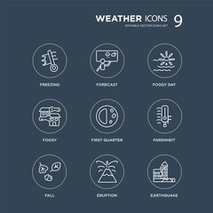 9 Freezing, Forecast, fall, Farenheit, First quarter, Foggy day, Foggy, Eruption modern icons on black background, vector illustration, eps10, trendy icon set.