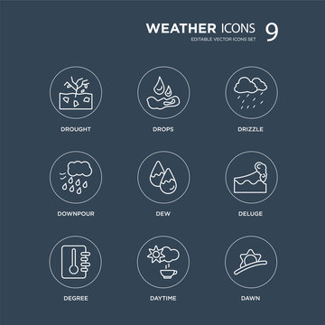 9 Drought, Drops, degree, deluge, dew, Drizzle, Downpour, Daytime modern icons on black background, vector illustration, eps10, trendy icon set.