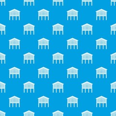 Stilt house pattern vector seamless blue repeat for any use