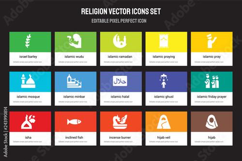Set of 15 flat religion icons - Israel Barley, Islamic Wudu