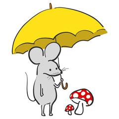 カワイイ ねずみ 傘 絵