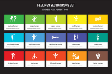 Set of 15 flat feelings icons - curious human, crazy blessed content broken cold chill blah human. Vector illustration isolated on colorful background