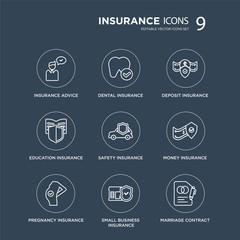 9 insurance advice, dental insurance, pregnancy money safety deposit modern icons on black background, vector illustration, eps10, trendy icon set.