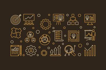 Strategic Planning Process vector concept horizontal outline illustration or banner on dark background
