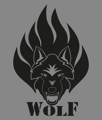 A wolf with a grin in the fire. Illustration for tattoo and sticker