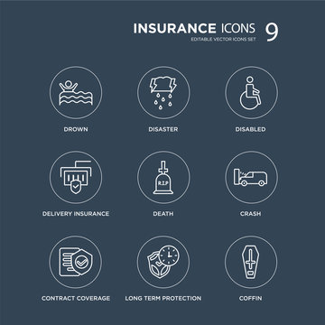 9 Drown, Disaster, Contract Coverage, Crash, Death, Disabled, Delivery insurance, long term protection modern icons on black background, vector illustration, eps10, trendy icon set.