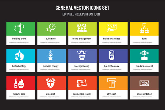Set of 15 flat general icons - building crane, build time, augmented reality, bpm, beauty care, bio technology, big data scientist, atm cash. Vector illustration isolated on colorful background