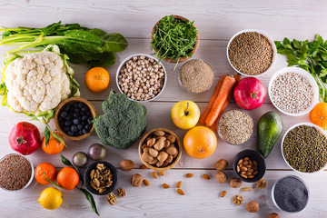 Top view of selected healthy and clean foods