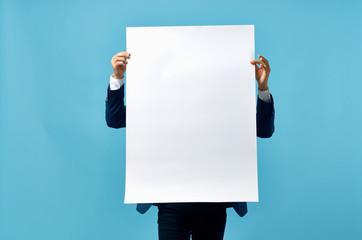 Fototapeta man holding white background place free blank obraz