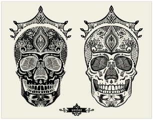 Hand drawn ornamental skulls set, sugar skulls with crowns