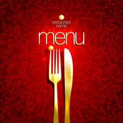 Chic restaurant menu card, golden fork and knife, mosaic deep red backdrop