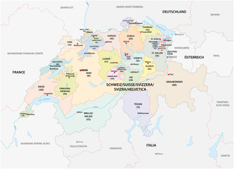 administrative and political vector map of switzerland