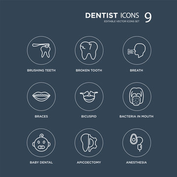9 Brushing teeth, Broken tooth, Baby dental, Bacteria in mouth, Bicuspid, Breath, Braces, Apicoectomy modern icons on black background, vector illustration, eps10, trendy icon set.