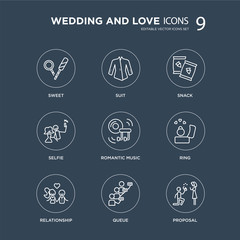 9 Sweet, Suit, Relationship, Ring, Romantic music, Snack, Selfie, Queue modern icons on black background, vector illustration, eps10, trendy icon set.