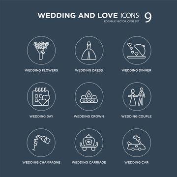 9 wedding flowers, Wedding dress, Champagne, couple, Crown, Dinner modern icons on black background, vector illustration, eps10, trendy icon set.
