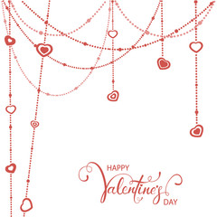 Red Hearts and Valentines Lettering on White background