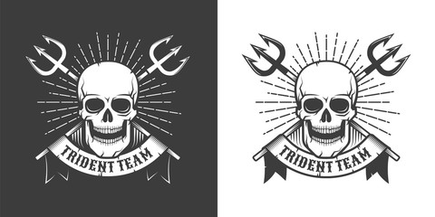 Pirate sea emblem with skull and crossed tridents. Vintage retro hipster style. Vector illustration.
