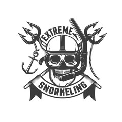 Skull in mask with tube for snorkeling and crossed tridents in the background - retro emblem. Diver logo, tattoo template.