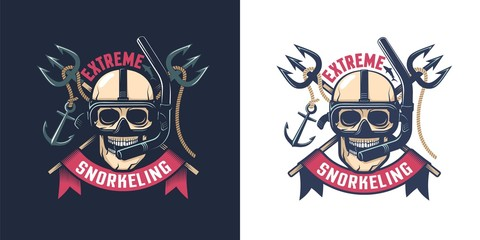 Extreme diving retro emblem. Skull in an underwater mask with a tube. Worn texture on a separate layer.