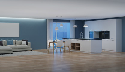 Modern house interior. Night. Evening lighting. 3D rendering.