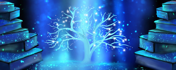 Fantasy with books, magic light, books, tree of knowledge. Magical background, new light, ultraviolet.