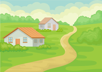Landscape of village with two small houses, ground road, green grass and bushes. Natural scenery. Flat vector design