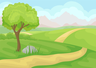 Scenery with tree, ground road and green meadows, mountains and blue sky. Natural landscape. Cartoon vector design
