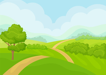 Scenery with green meadows, tree and bushes, blue sky on background. Natural landscape. Flat vector design