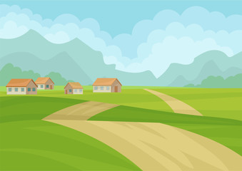 Natural landscape with houses, ground road, green meadows and mountains on background. Flat vector design