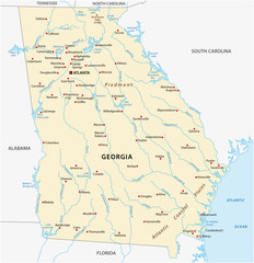 Vector Map of the U.S. state of Georgia