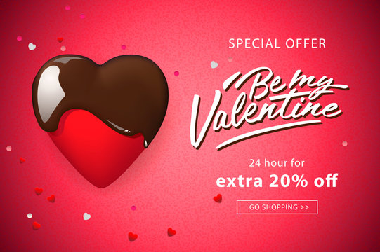 Web banner for Valentine's Day. Chocolate heart and confetti, vector illustration.