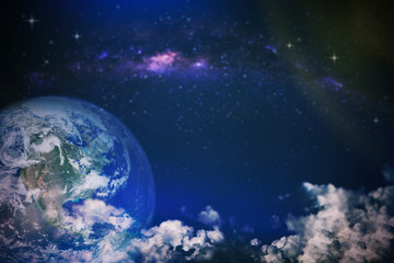 Fantasy night sky view, earth with clouds and milky way in the blue sky. Surreal image for background. Elements of this image are furnished by NASA.