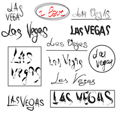 Set of hand drawn lettering - I love Las Vegas.  Name of  city in different spellings. Design element. Vector. Isolated on white background.