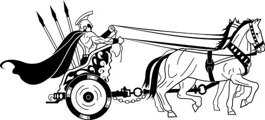 Roman Warrior in Chariot Vector Illustration