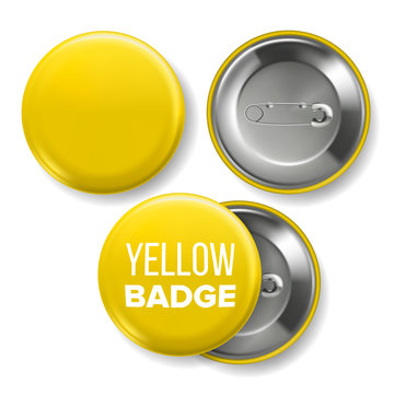Yellow Badge Mockup Vector. Pin Brooch Yellow Button Blank. Two Sides. Front, Back View. Branding Design 3D Realistic Illustration