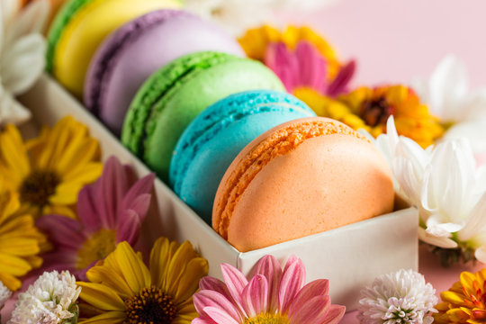 Still life and food photo of cake macarons in a gift box with flowers, a cup of tea on light background. Sweets and desserts concept of macaroons.
