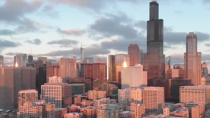 Fototapete - Chicago evening sunset downtown skyline aerial