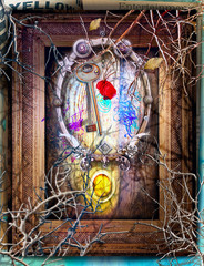 In de dag Imagination Surreal background with mysterious and enchanted window