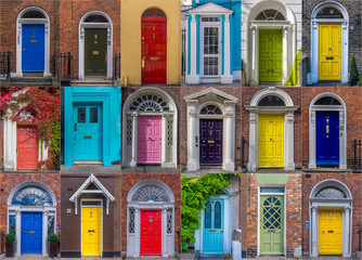 Set of colorful Georgian style doors in Dublin, Ireland