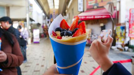 Ice cream mixed fruit.