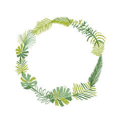 Tropical flower composition, hand drawn circle greenery botanical wreath. illustration isolated on white background. Floral paradise, exotic plant leaf border