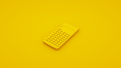Yellow Office Calculator. 3D illustration