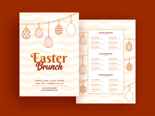 Easter Brunch menu card or template design with date, time and venue details.