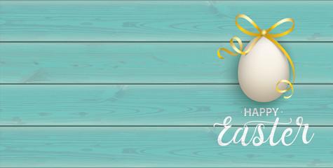 Happy Golden Easter Eggs Wooden Turquoise Header