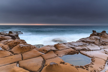 Overcast Coastal Seascape from Sandstone Headland