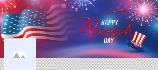 Social media banner design with illustration of American flag and uncle sam hat on glossy firework background with space for your image.