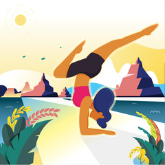 Vector illustration - yoga girl. Fitness characters on park landscape background. Exercise people healthy life. Banner, site, poster template. art.  background
