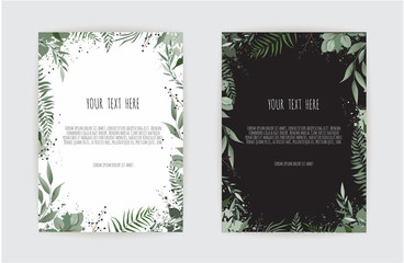 botanic card with wild flowers, leaves. Spring ornament concept. Floral poster, invite.