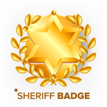 Sheriff Badge Vector. Golden Star. Sevurity Emblem. Retro Object. 3D Realistic Illustration