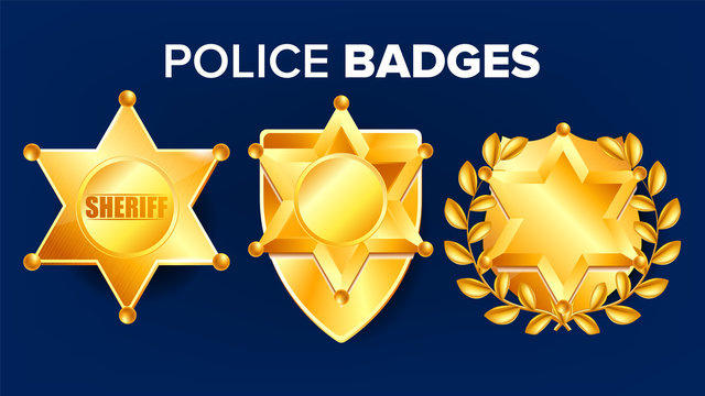 Sheriff Badge Vector. Golden Star. Officer Icon. Detective Insignia. Sevurity Emblem. Western Style. Retro Object. 3D Realistic Illustration